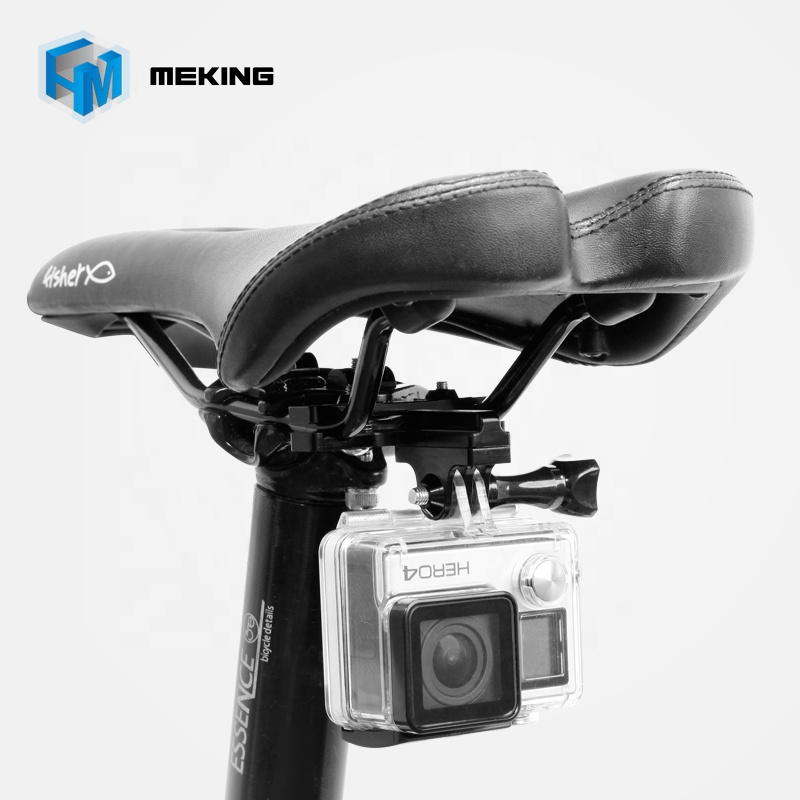 Meking Hot Bike Aluminium Go pro bike handle bar 2-Rail Saddle Seat bottom Clamp Clip Mount for Go Pro фото