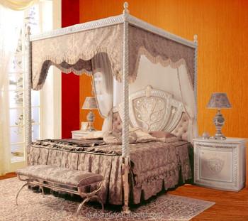 21000a-luxurious Design Letto A Baldacchino Con Dorato Intagliato ...