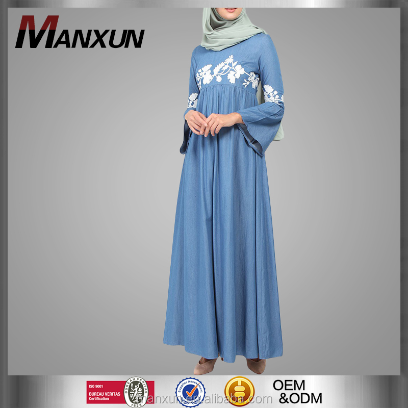 Denim Abaya for Muslim Women Wear Embroidery Abaya Bell Sleeve Design Jeans Abayas