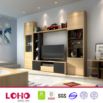 Cheapest furniture hall tv showcase wood tv wall units for Lcd wall unit designs for hall