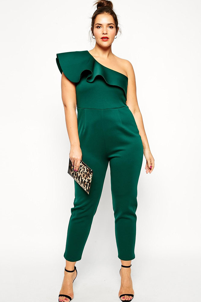 b030913c887 Get Quotations · Flouncing One Shoulder Plus Size bodycon jumpsuits and  rompers for women combinaison sexy Fashion Long overalls