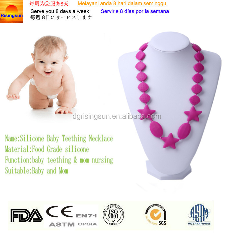 Children Silicone Teething Necklace with Violet Pink Heart Bead / Sensory Chew Necklace - Silicone