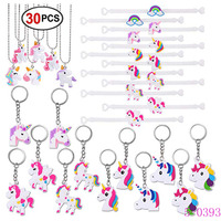 Unicorn Party Supplies Keychain Unicorn Bracelet Necklace for Unicorn Birthday Party Favors