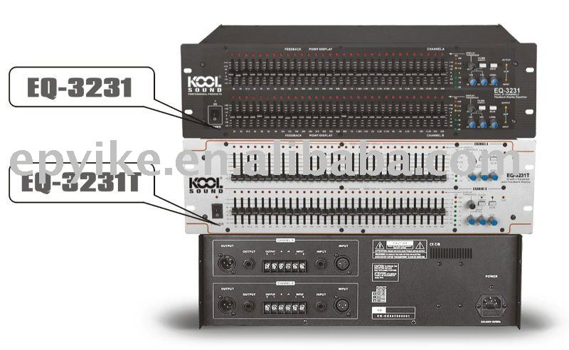 EQ-3231 - Professional Sound System Equalizer / Stereo 31 Band Graphic Equalizer with Feedback Display