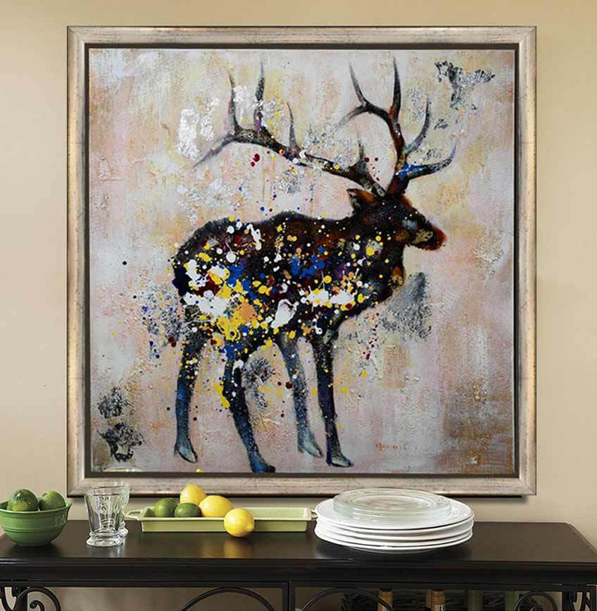 Abstract Animal Oil Painting Handpainted Deer Picture On