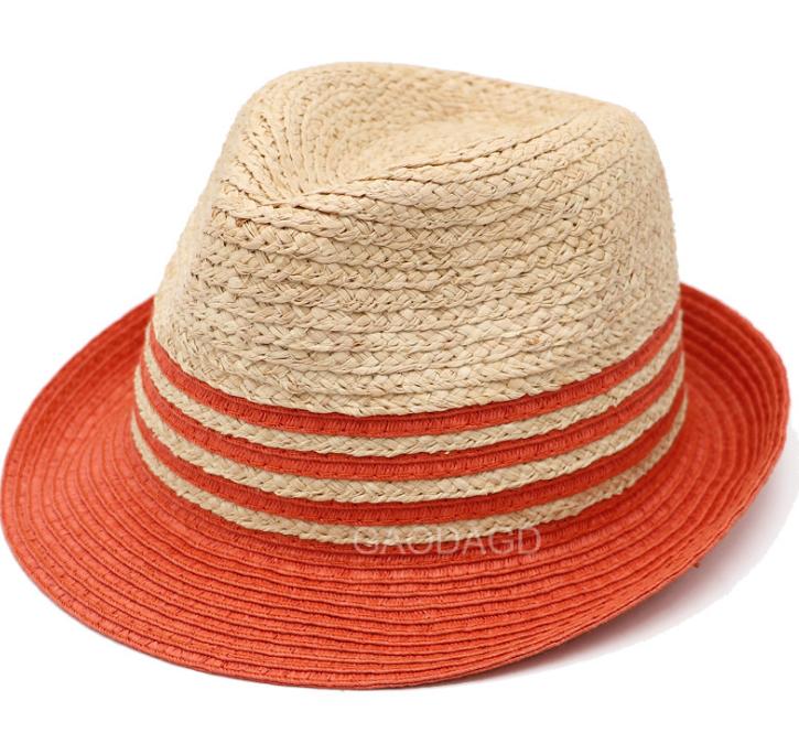 373b1152 Sol de verano protector Multi color Unisex sombrero fedora logotipo  personalizado banda de sombrero de paja