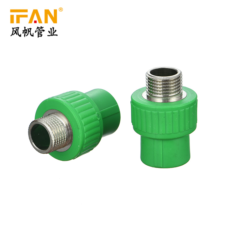 Manufacturer Wholesale PPR Pipes and fittings 20mm - 63mm Socket PPR Male Adaptor Male Thread Coupling