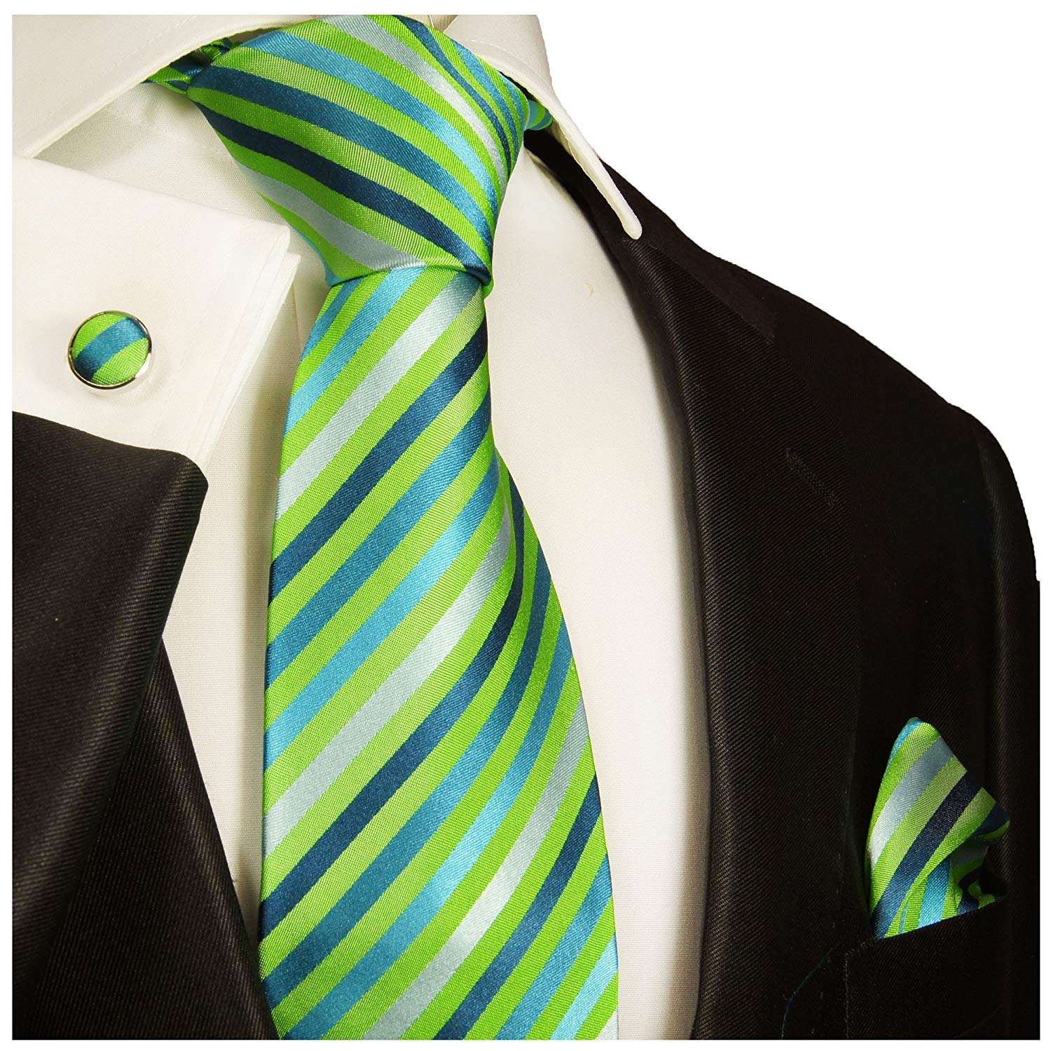 a7c83be3e7cb Get Quotations · Green Striped Silk Tie, Pocket Square and Cufflinks by Paul  Malone