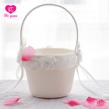 M4996 Linen flower decorated wedding baskets,girls basket for wedding card