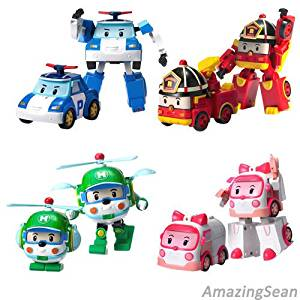 Robocar Transformer 1ea Robot Poli Roi Amber Heli Korea Animation Cartoon Kids