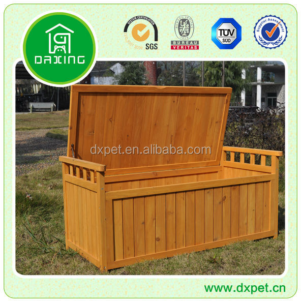 Garden Wood Cushion Storage Box / Outdoor Wooden Bench With Storage