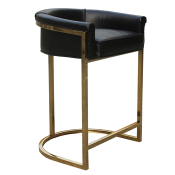 Gold Stainless Steel Bar High Chair Stool Leather Vintage