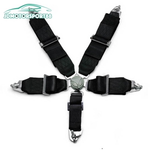 JDMotorsport88 Black Nylon Five Point 5 Point Racing Harness Seat Belts