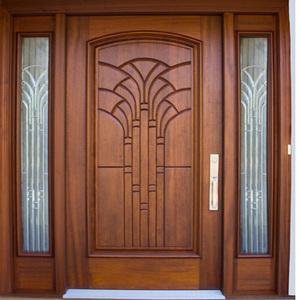 Solid Exterior Flat Teak Wood Main Double Front Entry Door Design