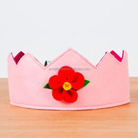 2018 new product hot sale wholesale China handmade wool party supply flower design pink felt princess crowns for kids