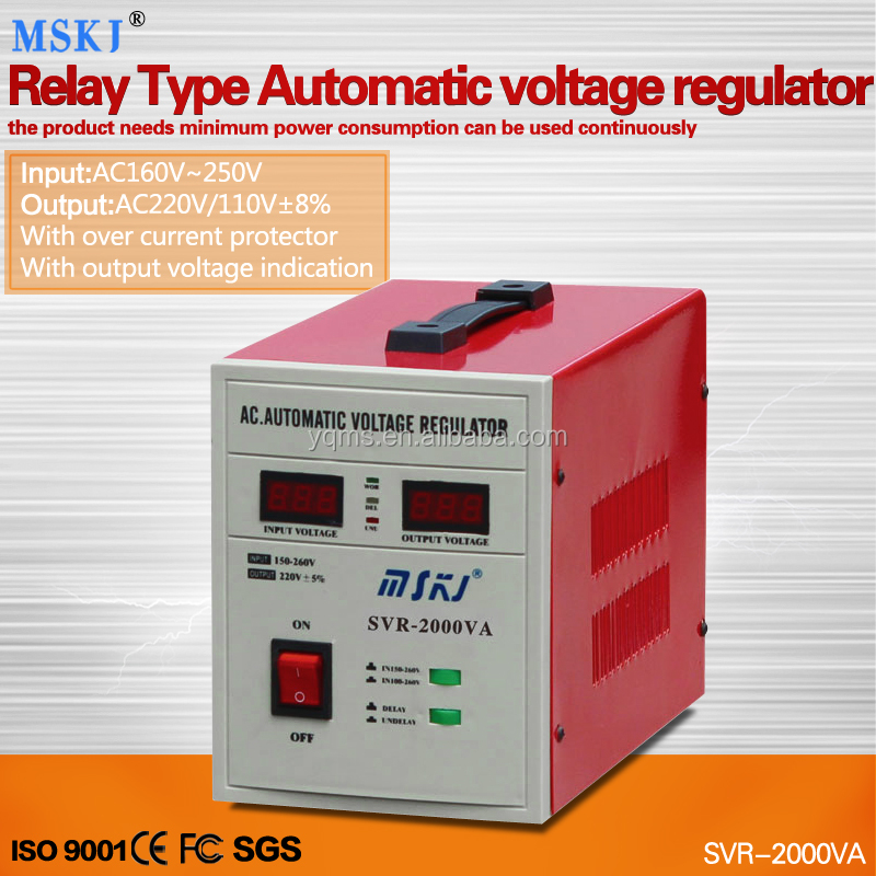 foreign trade best sale relay type ac stabilizer SVR-2000VA TV electric cooker voltage stabilizer 2000w factory