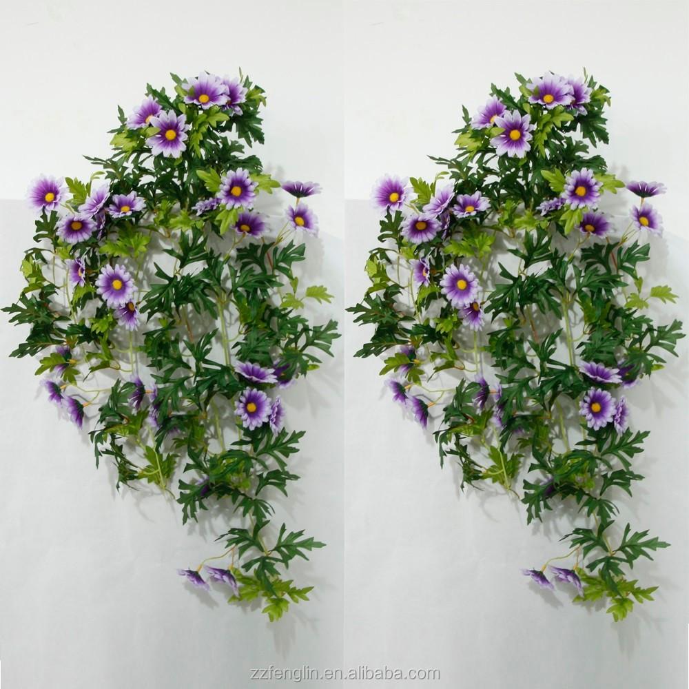 High Quality Silk Stocking Flower Purple Daisy Fake Fabric Flower