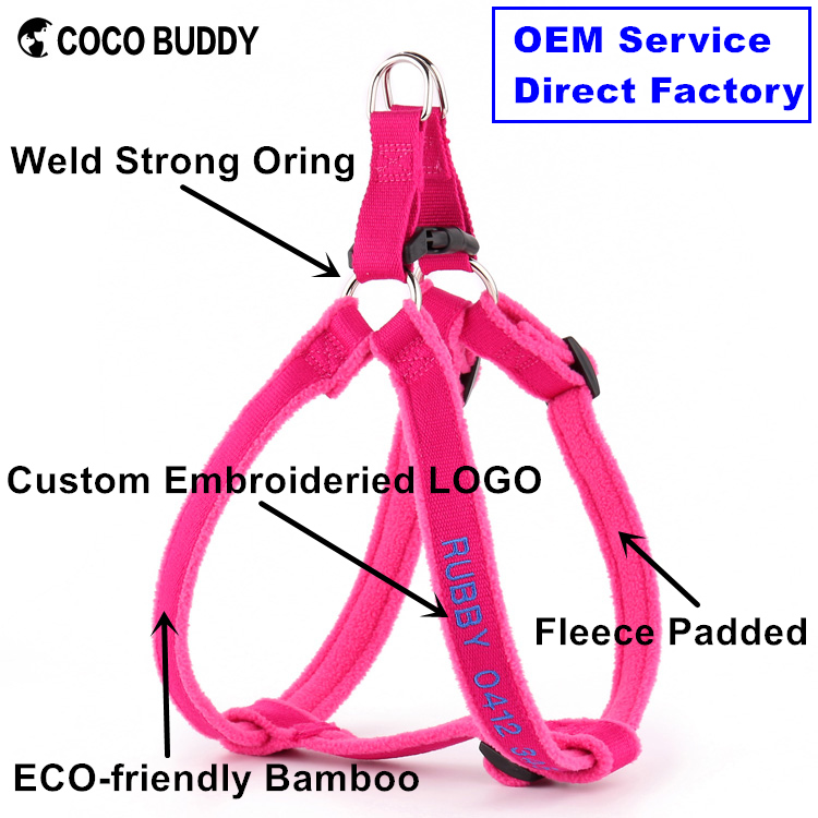 Custom OEM ODM Personalized Embroidery Bamboo Dog Harness, Comfort Fleece Padded Step In Dog Leash Harness