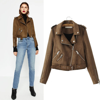 2019 Winter brown/green/prink colors motorcycle suede bomber pu leather jackets womens