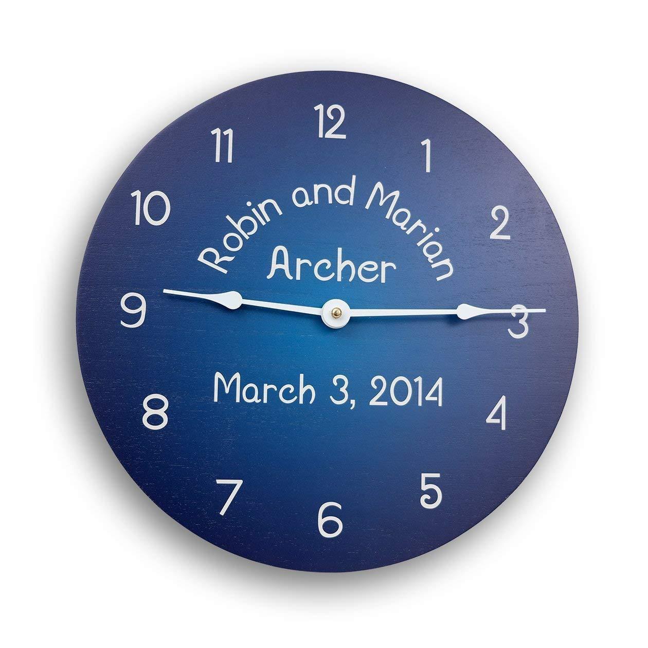 Personalized blue wall clock. Wood wall clock. Wedding clock. Anniversary clock. Family name clock. 11 inch clock. 13 inch clock