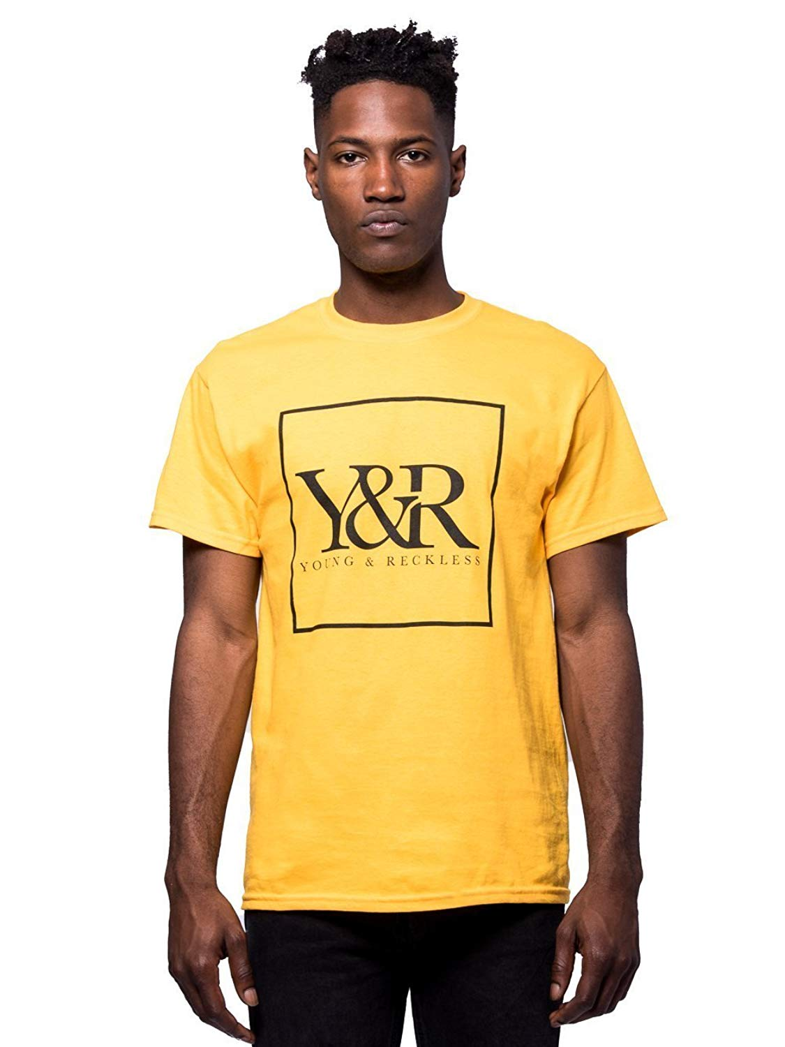 b4ad6fd67 Get Quotations · Young and Reckless - Trademark Box Logo Tee - Gold - -  Mens - Tees -