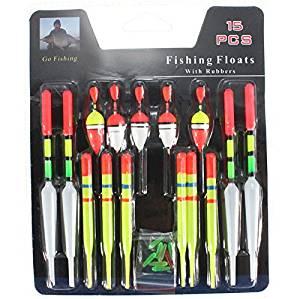 15pcs/Set Assorted Sizes Plastic Vertical Buoy Fishing Lure Floats Bobbers Slip Drift Tube Indicator 6018