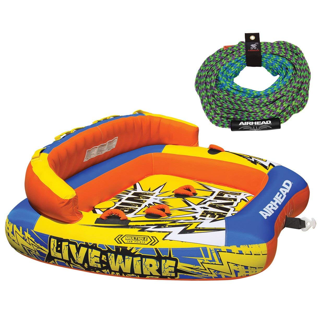 Water Sports OBrien 66 Heavy Duty One Rider Towable Lake Tube w/ Tow Line Connector 2 Pack