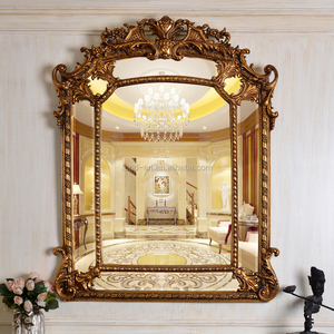 PU554 Antique Gold Polyresin Fancy Room Decorative Framed Wall Mirror