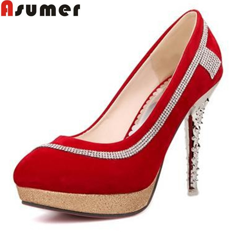 official photos c66af f8d4b Get Quotations · 2016 platform 2cm fashion thin heels round toe high heels  elegant party shoes red bottom shoes