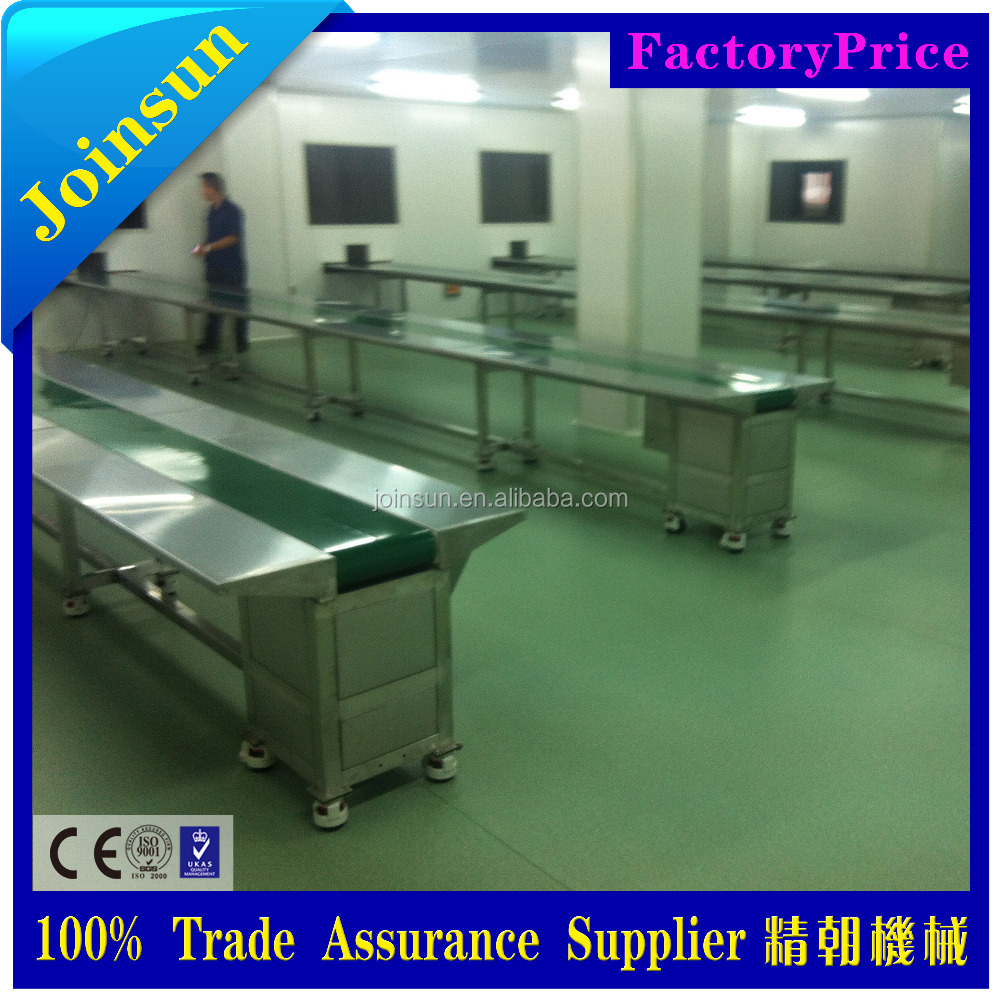 SS Belt Conveyor System/ packaging line conveyor belt with worktable