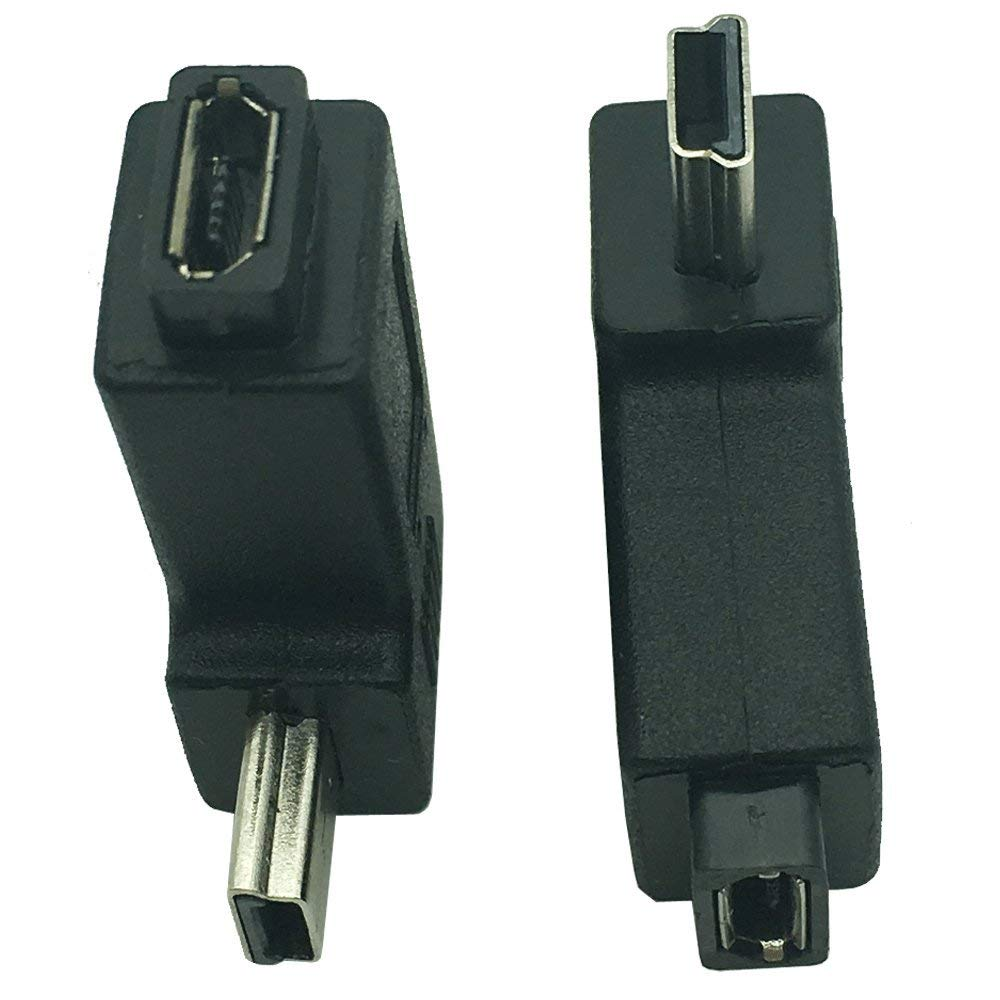 Dong Micro USB Female to MiniUSB Male Adapter Right Left Angle Micro Female to 5Pin Male 90 Degree USB Micro Female to USB Mini 5Pin Male Plug Adapters Black (2 Pack)