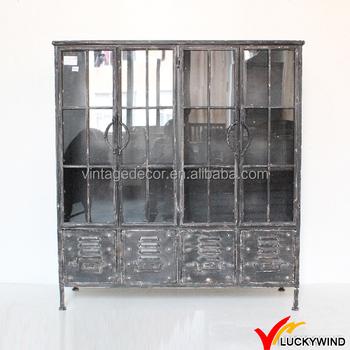 Vintage Reclaimed Metal Furniture Large Display Storage Cabinet