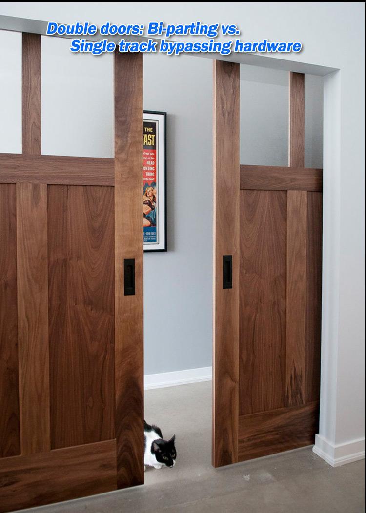 Black Walnut Solid Wood 2 Panel Barn Door Half Glass Half Screen Door
