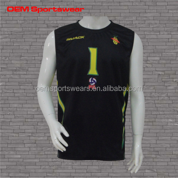Black customized sleeveless volleyball jersey designs for men