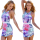 Summer Lady Sleeveless Floral Top Mini Short Beachwear Romper Jumpsuit Playsuit Women Clubwear Party Bodycon Jumpsuits