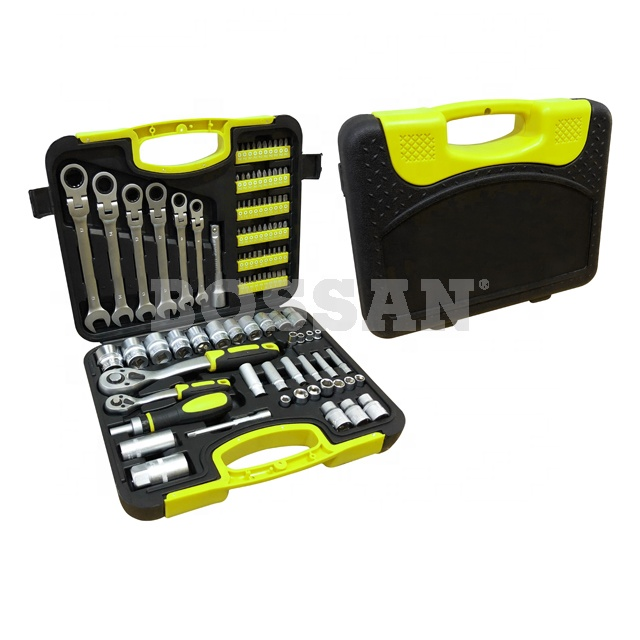 BOSSAN 2019 hot selling 104 piece DIY hand <strong>tool</strong> with flexible ratchet wrenches and sockets <strong>tool</strong> kit set