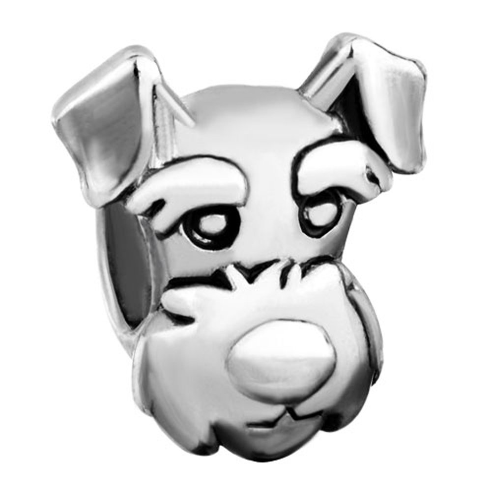 Pugster Silver Plated Cute Puppy Funny Dog Pet Charm Bead Fits Pandora Bracelet