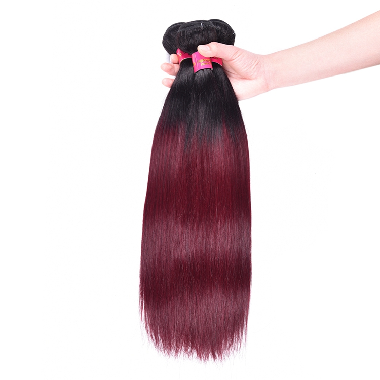 1b/99j Ombre Human Hair Extensions Wholesale Wine Red Ombre Straight Human Hair Weave фото