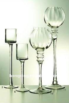 Portacandele in vetro con stelo e base candeliere id - Portacandele in vetro ...