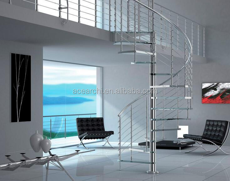 Best selling small spiral glass stairs price with laminated tempered glass staircase steps