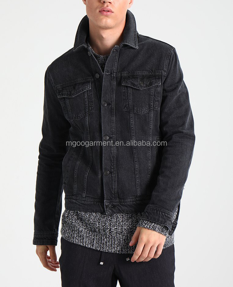 100% cotton black denim jacket Lapel collar fashionable men jacket High quality custom blank winter denim jacket