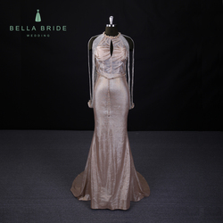 Sexy ladies western wear gold evening dresses wholesale price prom dress party women wear gowns