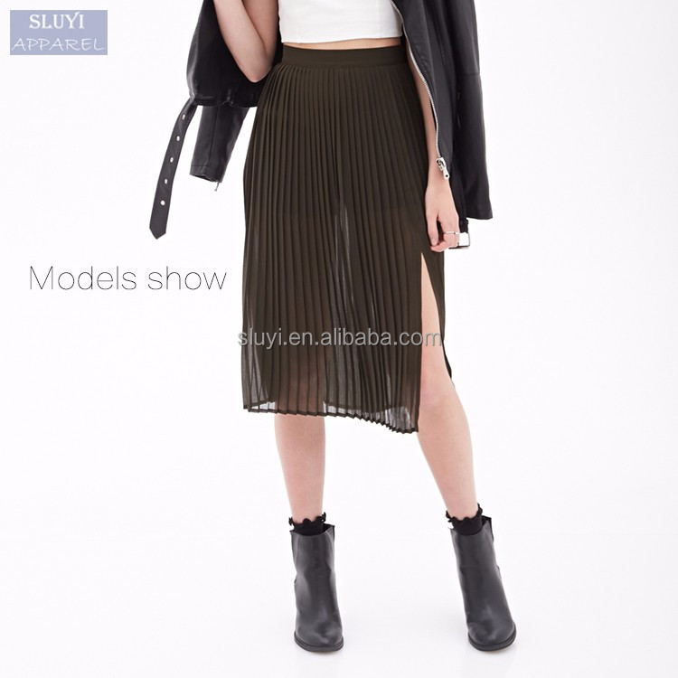 2017 ladies long skirt models summer short slinning solid trasparent chiffon sexy women pleated skirt pictures of long skirts
