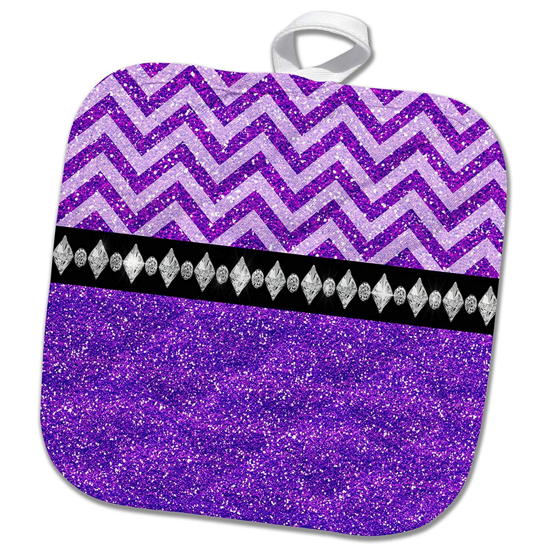 3dRose Anne Marie Baugh - Glitter and Chic - Pretty Purple Digital Glitter Chevron Stripes and Diamond Design - 8x8 Potholder (phl_267772_1)