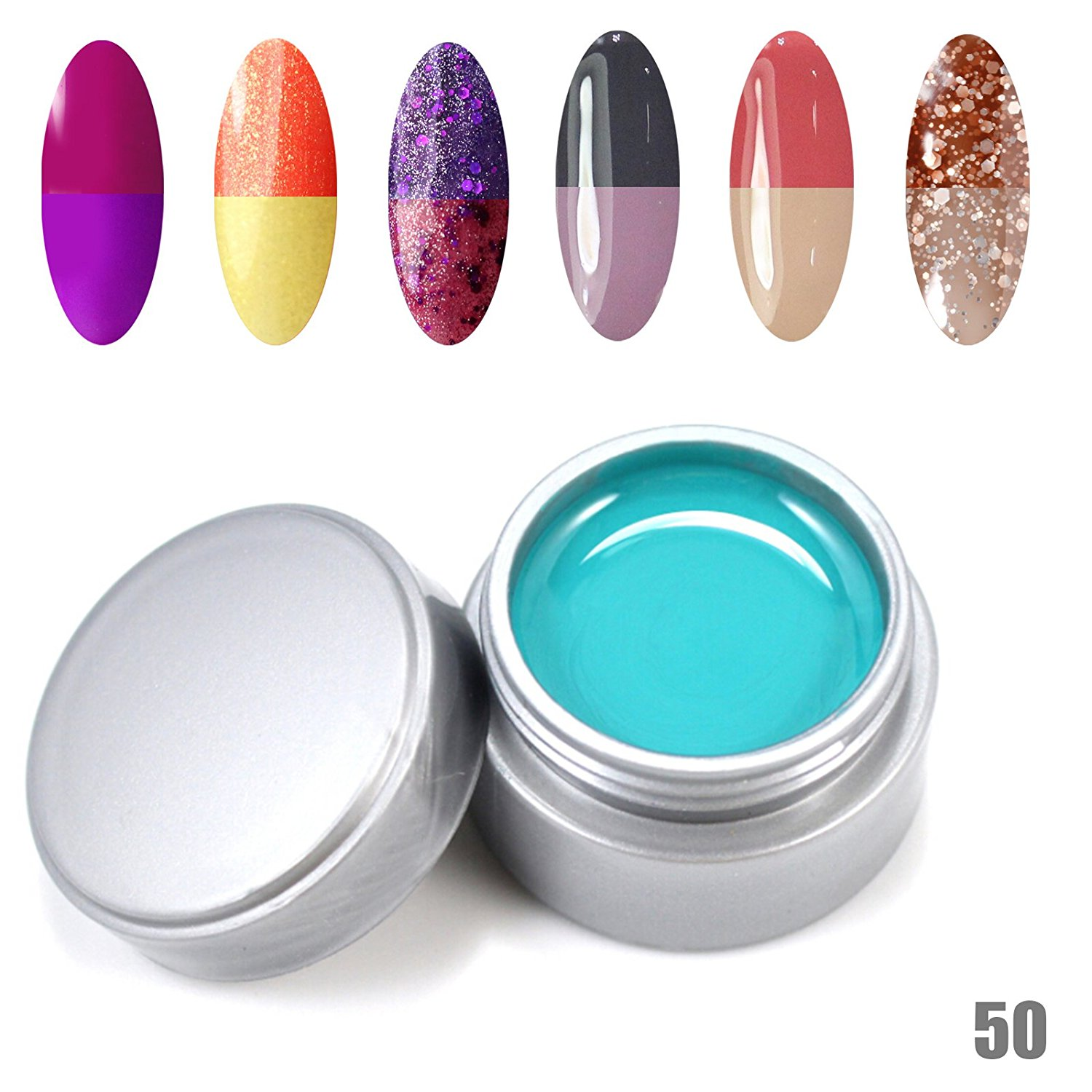 Perfect Summer Long Wearing Thermal Temperature Colors Changes Chameleon 6pcs 6ml UV Gel Nails Polish Salon Artistic Painting Soak Off Nails Lacquers #50