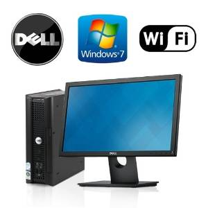 "Dell Optiplex 760 USFF - Intel Core 2 Duo 2.8GHz, 4GB RAM, NEW 120GB Solid State Drive (SSD), Windows 7 Professional 32-Bit, WiFi, DVD-ROM + New 19"" Dell LCD Monitor! (Prepared by ReCircuit)"