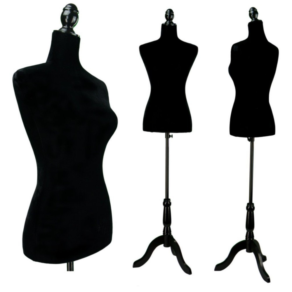 Black Female Velour-like Fabric Mannequin Dress Form (on ...