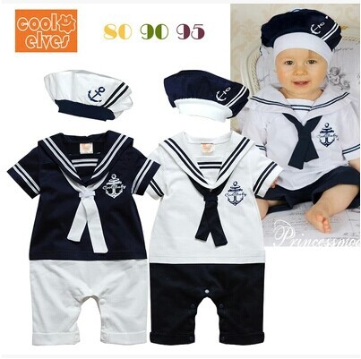 Retail New fashion Summer Newborn navy style baby romper suit kids boys girls rompers+hat body summer short-sleeve sailor suit