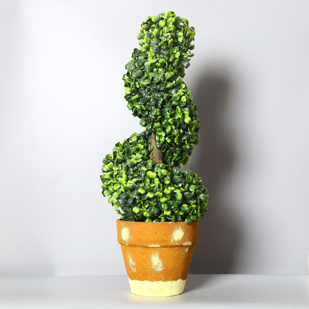 Yuanjing artifical plants plastic topiary boxwood spiral tree bonsai
