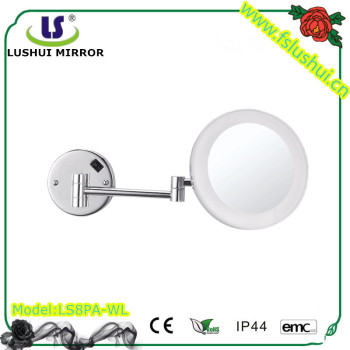 Wall Mount Round Acrylic Bathroom Mirror Adjustable Hinges